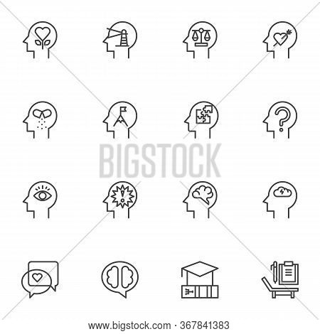 Human Psychology Line Icons Set, Outline Vector Symbol Collection, Linear Style Pictogram Pack. Sign