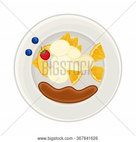 Fruity Foodstuff Arranged In The Shape Of Fish On Plate Above View Vector Illustration