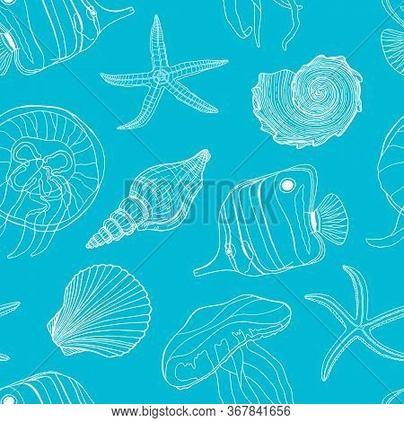 Tropical Fish, Seashell, Jellyfish And Starfish Vector Seamless Pattern. Hand Drawn Underwater Illus