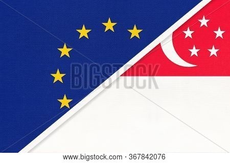 European Union Or Eu And Singapore National Flag From Textile. Symbol Of The Council Of Europe Assoc