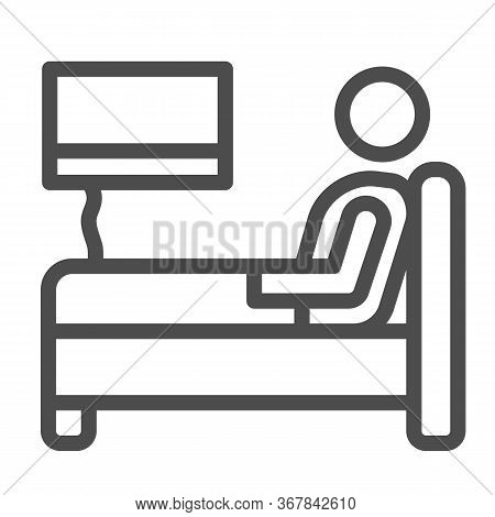 Stay In Bed With Flu Line Icon, Home Treatment In Covid-19 Concept, Sick Man Lying In Bed Sign On Wh