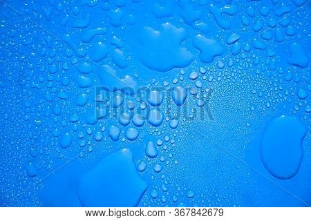 Water Drops Backdrop, Blue Water Drops On Glass, The Abstract Water Drop On Surface Of Fresh Blue Ba