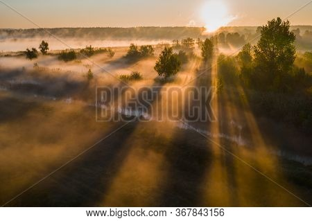 Beautiful Misty Dawn In The Spring On The River. Beautiful Foggy Landscape