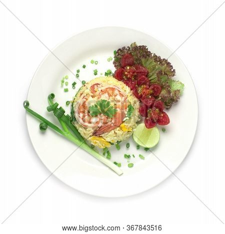 Fried Rice With Shrimp Decorate With Vegetables Carved