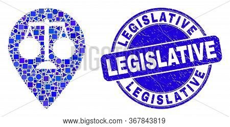 Geometric Justice Map Marker Mosaic Icon And Legislative Seal Stamp. Blue Vector Round Scratched Sea