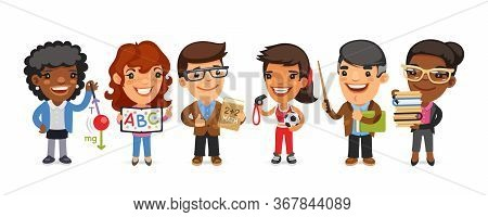 A Group Of Cartoon Teachers Men And Women Characters In Different Poses Stand On A White Background.