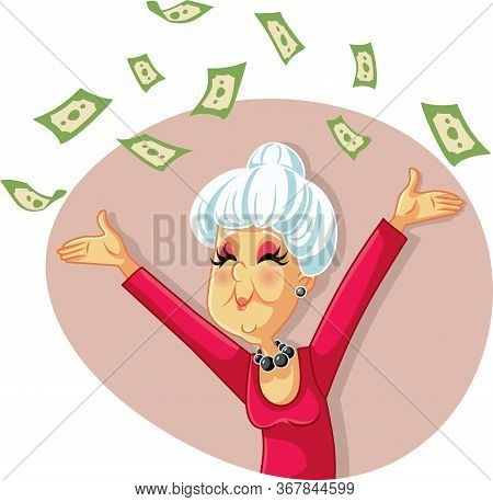 Funny Retired Senior Woman Throwing With Money