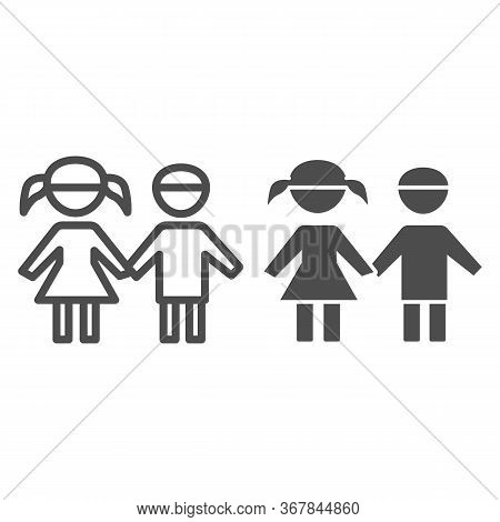 Boy And Girl Line And Solid Icon, 1st June Children Protection Day Concept, Children Silhouettes Sig