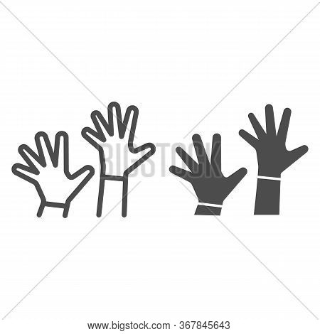 Children Hands Up Line And Solid Icon, 1st June Children Protection Day Concept, Two Kids Palms In T