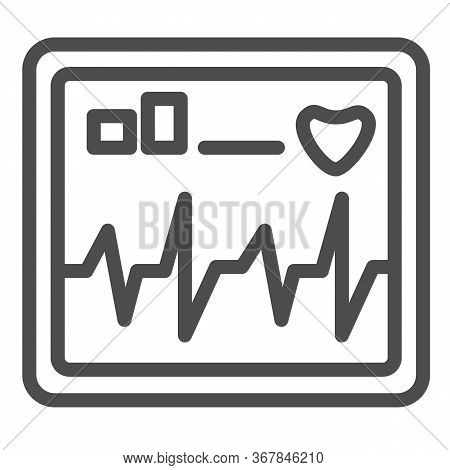 Monitor Screen Displays Heart Rate Line Icon, Healthcare Concept, Cardiogram Device Sign On White Ba
