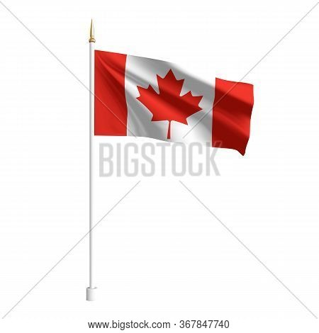 Vector Realistic Canada Flag. 3d Waving Flag Textile. Template For Products, Advertizing, Banners, L