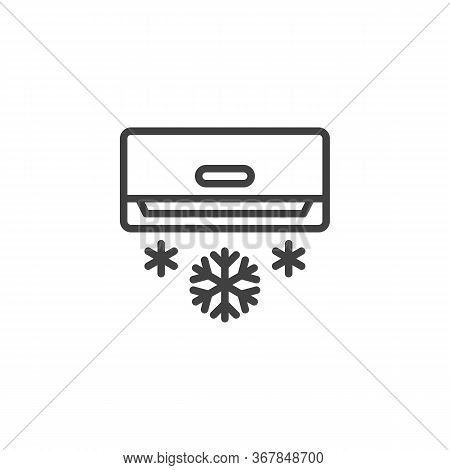 Air Conditioning, Blows Cold Line Icon. Linear Style Sign For Mobile Concept And Web Design. Air Con