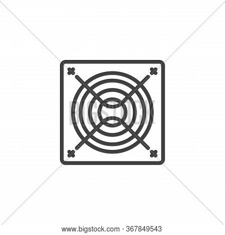 Exhaust Fan Line Icon. Linear Style Sign For Mobile Concept And Web Design. Exhaust Air Blower Outli