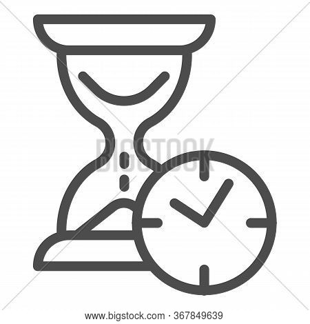 Hourglass With Clock Line Icon, Time Passing Concept, Urgency And Running Out Of Time Sign On White