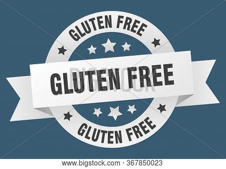 Gluten Free Ribbon. Gluten Free Round White Sign. Gluten Free