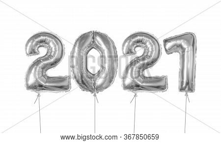 2021 Number Of Silver Foiled Balloons Isolated On White Background. Happy New Year 2021 Holiday. Rea