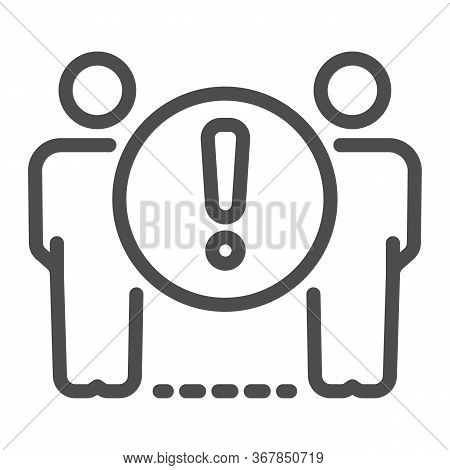 Two Person Standing At Distance Line Icon, Social Distancing, Covid-19 Concept, Keep Distance With A