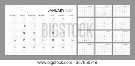 Wall Quarterly Calendar Template For 2021 In A Classic Minimalist Style. Week Starts On Monday. Set
