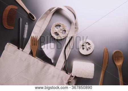 Eco Bag, Cutlery, Comb, Washcloth Made Of Loofah