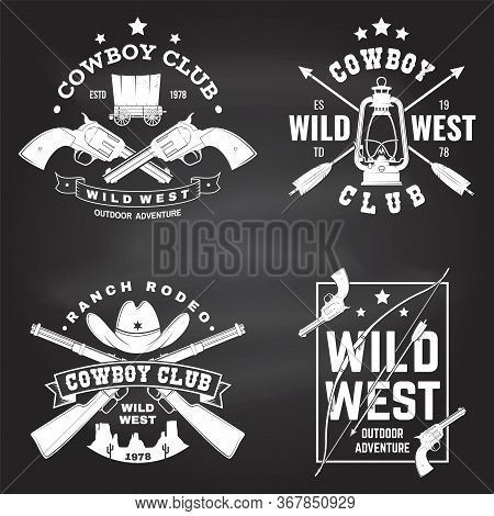 Set Of Cowboy Club Badge On Chalkboard. Wild West. Vector. Concept For Shirt, Logo, Print, Stamp, Te