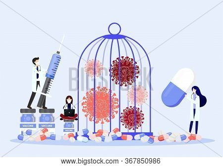 Medical Workers In Protective Uniform And Coronavirus In Cage. Locked Virus Pathogen In Cage.victory