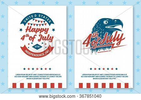 Set Of Vintage 4th Of July Poster, Flyer, Template, Card. Fourth Of July Felicitation Classic Postca