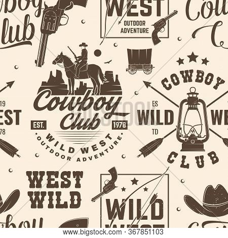 Cowboy Club Seamless Pattern, Background. Vector Illustration. Seamless Pattern Design With Wild Wes