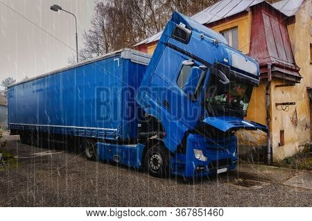 A Broken Truck, With The Cab Lowered, Is Waiting For A Repair Car Service.it`s Rainy.broken Truck Ne