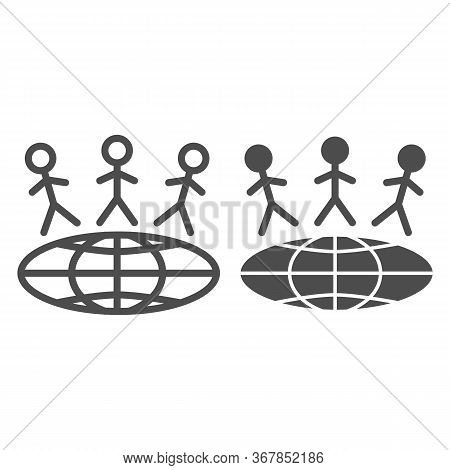 Children Around World Line And Solid Icon, World Children Day Concept, Earth With Kids Vector Sign O