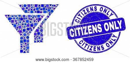 Geometric Filters Mosaic Pictogram And Citizens Only Seal Stamp. Blue Vector Round Scratched Seal St