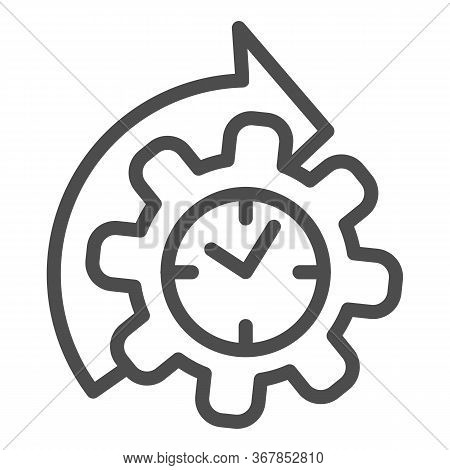 Watches And Arrow With Gear Line Icon, Time Managment Concept, Cogwheel With Clock Reprocessing Sign