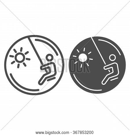Child On A Swing Line And Solid Icon, Playground Concept, Swinging Boy Vector Sign On White Backgrou