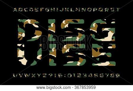 Disguise Alphabet Font. Camouflage Letters And Numbers On A Dark Background. Vector Typescript For Y