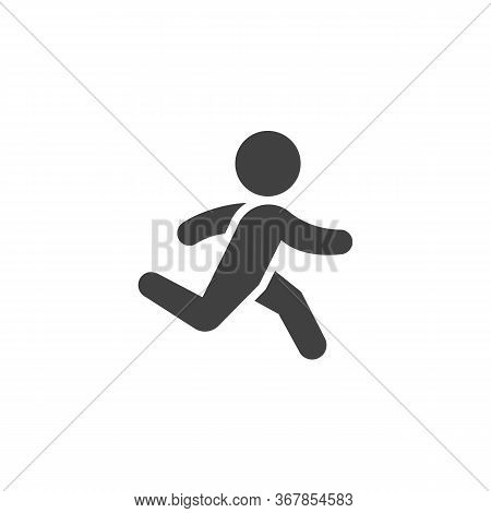 Running Exercise Vector Icon. Filled Flat Sign For Mobile Concept And Web Design. Runner Man Glyph I