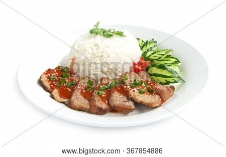 Barbecue Red Pork In Sweet Sauce On Top Sesame With Rice