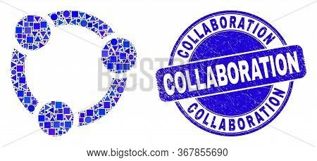 Geometric Collaboration Mosaic Icon And Collaboration Watermark. Blue Vector Rounded Distress Waterm