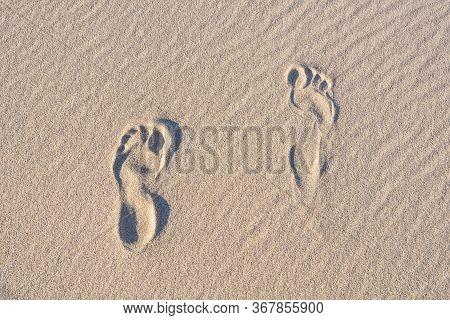Foot Print In Sand Dunes-foot Print In Sand Dunes