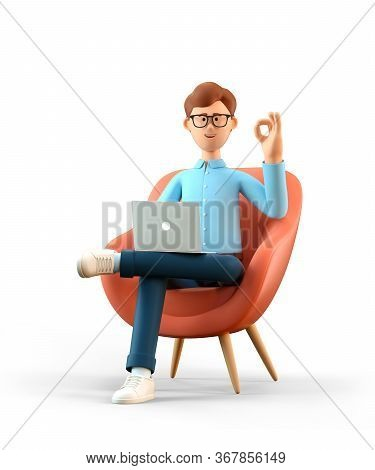 3d Illustration Of Smiling Happy Man With Laptop Sitting In Armchair And Showing Ok Gesture. Cartoon