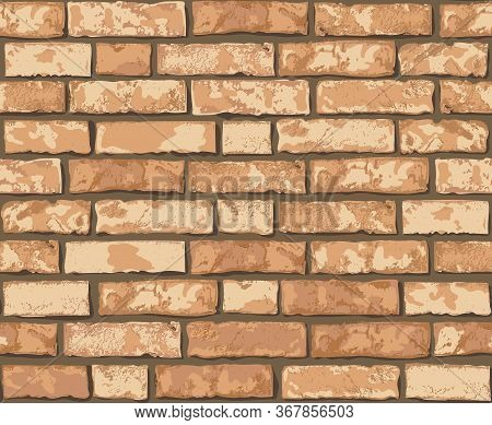 Realistic Vector Brick Wall Seamless Pattern. Flat Wall Texture. Yellow Textured Brick Background Fo