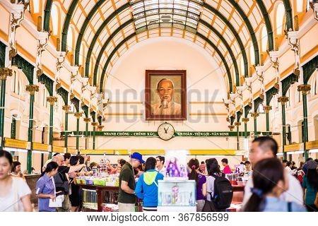Ho Chi Minh City, Vietnam, April 22 2016.this Place Is Saigon Central Post Office.