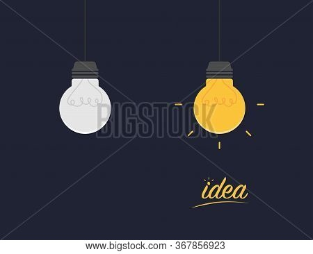 Idea Lamps. Illumination Energy From Lamps. Inspiration Illustration With Grey And Orange Lamps. Fla