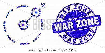 Geometric Radial Escape Border Mosaic Pictogram And War Zone Seal. Blue Vector Round Textured Seal S