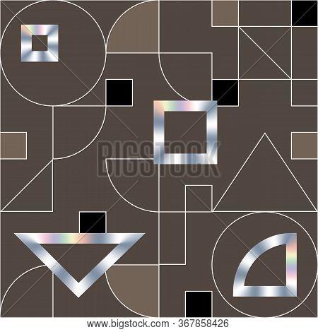Geometric Swiss Modernism Vector Seamless Pattern. Modern Swiss Pattern, Geometric Texture With Holo