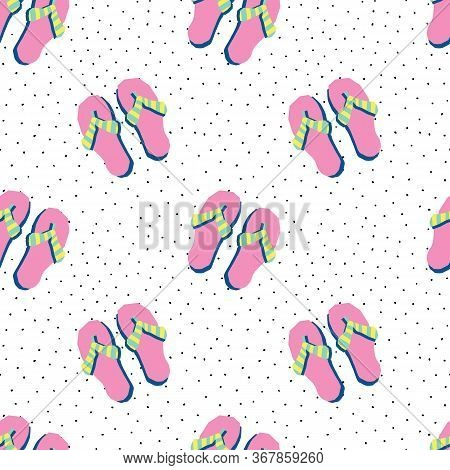 Flip Flops Seamless Vector Pattern. Repeating Background Summer Beach Theme Modern Papercut Style. P