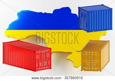 3d Map Of Ukraine. Freight Shipping In Containers. Export From The Country In Containers. 3d Renderi