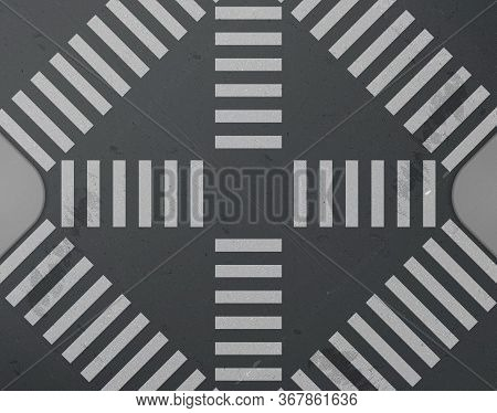Road Intersection With Crosswalk Top View. Vector Realistic Background With White Zebra Lines Road M