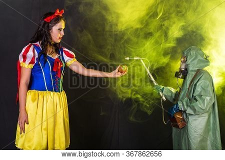 Woman Dressed As Fairytale Character Holds Radioactive Atomic Nuclear Ionizing Radiation Danger Warn