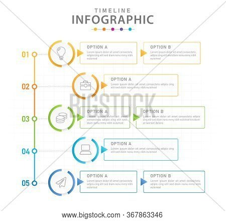Infographic Vector Template, 5 Steps Modern Timeline Diagram With Process Planner, Presentation Vect