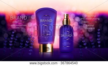 Lavender Cosmetic Series For Hand Skin Care, Realistic Vector. Purple Cream And Aroma Oil Bottle. Co