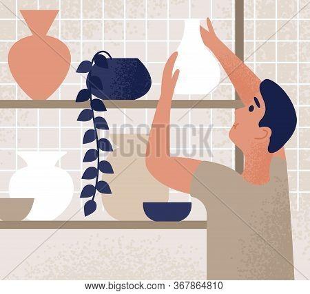 Male Working At Ceramic Studio Putting Crockery On Shelf Vector Flat Illustration. Ceramist Assistan